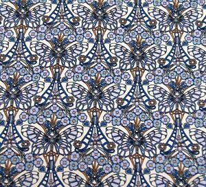 Liberty Belgravia Silk Satin fabric  Blue Morris