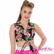 MAUI FLORAL PRINTED TIE UP CROP TOP by HELL BUNNY VINTAGE ALTERNATIVE RETRO