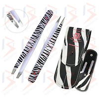 Sharp Tips Slanted Pointed Eyebrows Tweezers Professional 2 Pluckers Set + Pouch