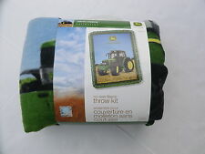"John Deere no sew fleece throw kit blanket new 43"" x 55"" tractor farm green"