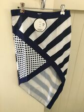 Navy and White Patterned Midi Skirt, BNWT, Size 8