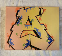"""Graffiti """"A"""" 8 x 10 spray paint and marker Art on Canvas signed original"""