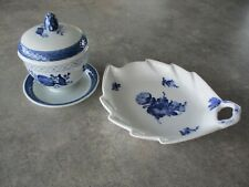 Vintage Royal Copenhagen Blue White Leaf Shaped Plate and Lidded Jelly Jar