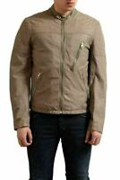 Just Cavalli Men's Gray Full Zip Leather Jacket US S IT 48