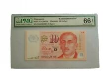 Singapore $10 Polymer Commemorative Banknote MAS 001807 PMG Graded 66EPQ
