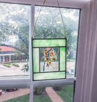 VINTAGE! Teal Stained Glass Sun Catcher With Real Flowers!