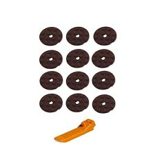 Lego Round Plate Dark Brown 4 x 4 with Hole 12 pieces With Free Brick Separator