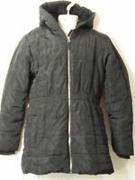 GIRLS M&S AGE 11-12 YEARS BLACK HOODED PADDED QUILTED COAT JACKET KIDS