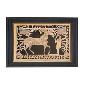 Scherenschnitte Paper Cutting Horse Flag Americana Folk Art Frame Antique Style