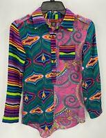 Desigual Womens 11-12 Shirt Bright Multicolor Patchwork Paisley Stripe Graphics