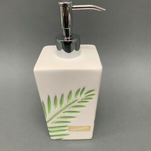 "Newport Liquid Soap Dispenser Cream Green Leaves 8"" High"