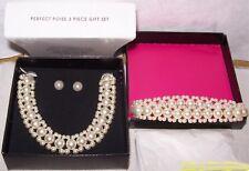 AVON! PERFECT POISE 3 PC GIFT SET. Faux Pearl Necklace/Earrings. Women. NEW.NIB.