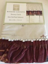 French Fleur de Lis Italian Savory Fat Chef Wine Bread Kitchen Curtain Valance