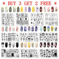 NICOLE DIARY Nail Stamping Plates Geometry Flower French Nail Art Templates Tips