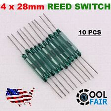 10 Pcs Reed Switch 4 X 28MM GLASS Green Color N/O Low Voltage Current A1
