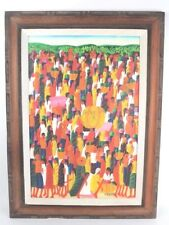 LAURENT CASIMIR LISTED ARTIST OIL ON CANVAS HAITIAN MARKET SCENE PAINTING