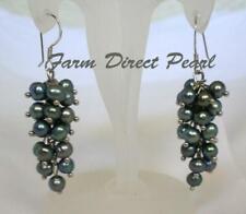 Freshwater Grey Pearl Cluster Dangle Drop Earrings Sterling Silver Hook