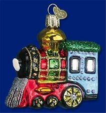 SMALL LOCOMOTIVE TRAIN TOY OLD WORLD CHRISTMAS BLOWN GLASS ORNAMENT NWT 46003