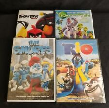 Lot of 4 DVDs Kids Movies Rio The Smurfs Planet 51 and Angry Birds
