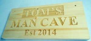 Personalised Wood Name Man Cave Shed Garage Workshop Door Sign Plaque Fun Gift