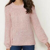 Lauren Conrad Bow Back Pullover Sweater Pink NWT Sz Sm Chunky Knit Feminine