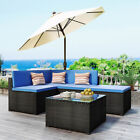 5 Piece Outdoor Sectional Sofa Set Wicker Rattan Patio Garden Furniture Set