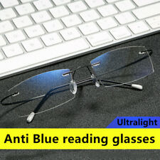Ultralight Memorry Aolly Rimless Reading glasses Anti blue ray reader Gold Grey