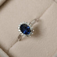 1.50 Ct Sapphire Halo Cluster Engagement Wedding Ring In Solid 14K White Gold
