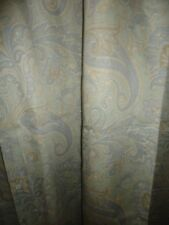 RAYMOND WAITES BLUE & TAUPE PAISLEY FABRIC SHOWER CURTAIN 70 X 71