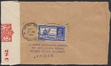 INDIA,1941. Censor Cover 157, Mount Road - New York