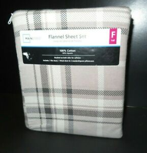 Mainstays Flannel Sheet set Tan Plaid, Full Sz, 4pc NIP