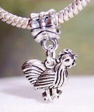 Chicken Rooster Bird Animal Farm Hen Dangle Bead for European Charm Bracelets