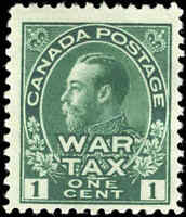 1915 Mint Canada Scott #MR1 1c War Tax Issue Stamp Hinged