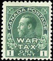 1915 Mint Canada F+ Scott #MR1 1c War Tax Issue Stamp Hinged