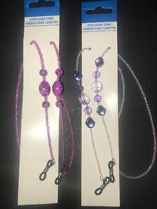 Set of  2 Glass & Acrylic Beaded Eyeglass Holder Leash USA Shipping Purple