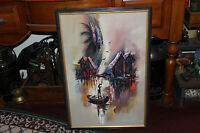 Stunning African Oil Painting On Board-Signed Kwaku Gosei-Man In Canoe-Tribal