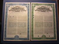 Lot of 2 Old 1945 - WESTERN PACIFIC RAILROAD - $1000 BOND Certificates