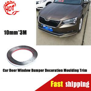 Car Door Edge Window Bumper Decoration 10mm*3m Moulding Trim Silver Chrome Strip