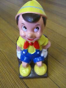 Vintage Walt Disney Productions Pinocchio Play Pal Plastic Piggy Bank w/ Stopper