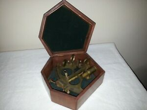 Replica Brass 1890 Stanley London Sextant with Brown Wooden Box Case