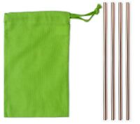 Metal Drinking Straw Straight UK Supplied - Rose Gold x 4