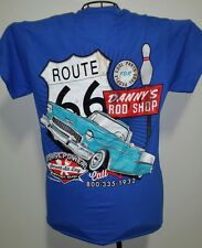 DANNY'S ROD SHOP HOTROD LARGE TEE SHIRT ROUTE 66 /1955 CHEVY/CONVERTIBLE/CRUSING