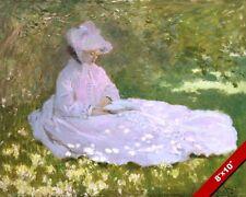 CLAUDE MONET WOMAN IN A PINK DRESS UNDER A TREE CANVAS GICLEE 8X10 ART PRINT