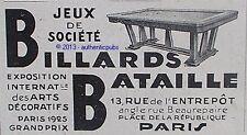 PUBLICITE BILLARDS BATAILLE JEUX DE SOCIETE TABLE DE 1929 FRENCH AD SNOOKER RARE