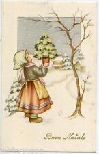 Bambina con Alberello Paesaggio Innevato Natale Xmas Girl w Tree PC Circa 1930