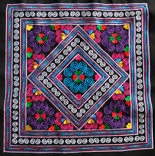 Chinese square antique tribal miao hmong machinemade embroidery colorful squares