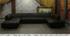 Gorgeous Modern Elegant design black leather U shape 3p pieces set #1707