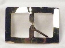 Vintage Goldtone Belt Buckle Rectangle Shiny Large Size Retro Curved A BEAUTY