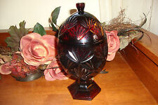 Luminarc Cris D'Arques Durand Ruby Red Egg Shape Covered Glass Candy Dish France
