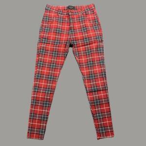 Mens Sik Silk Siksilk Skinny Stretch NEW Check Denim jeans RED MEDIUM W32 L31 L8